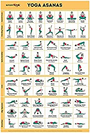 Sportaxis Yoga Poses Poster- 64 Yoga Asanas for Full Body Workout- Laminated Home workout Poster with Colored