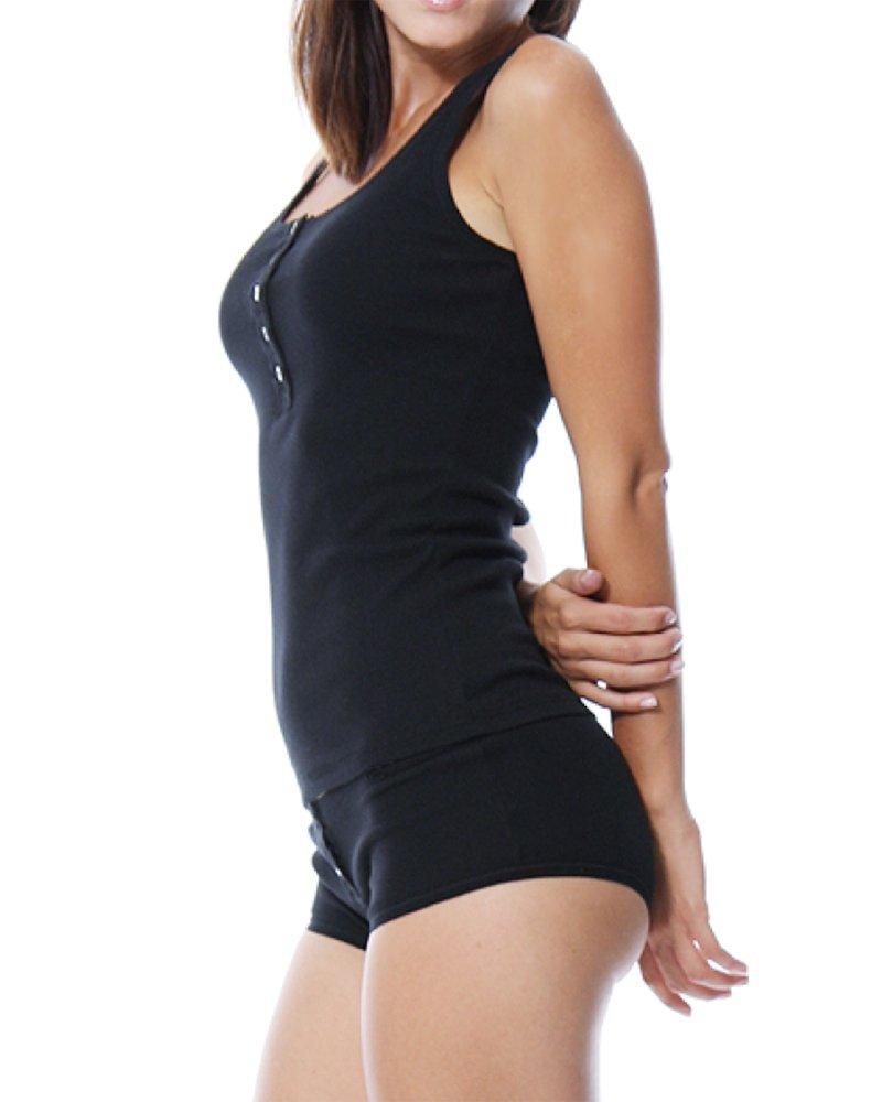 KalvonFu Women's Modal Basic Sleeveless Button Down Collar Henley Tank Top (M, Black)