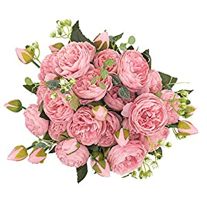 crazylove Silk Peony Artificial Pink Flowers Bouquet Small Pieces Design for Home Wedding Decoration Indoor (Pack 4,Pink)