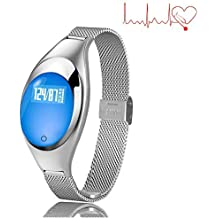 TKSTAR Smart Band Fitness Tracker for Women Blood Pressure Waterproof Bluetooth 4.0 Smart Bracelet Sleep Monitor Sync Phone Rechargeable for Android Apple Samsung - Z18 (Silver)