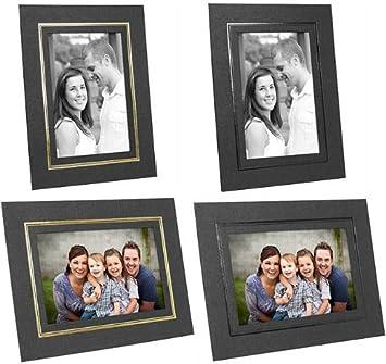 Amazoncom Cardboard Easel Picture Frames 5x7 Black Wgold Foil