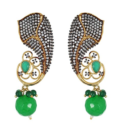 (Be You Striking Green Colour Diamond Look Rhodium Plated Brass Dangle Earring for Women)