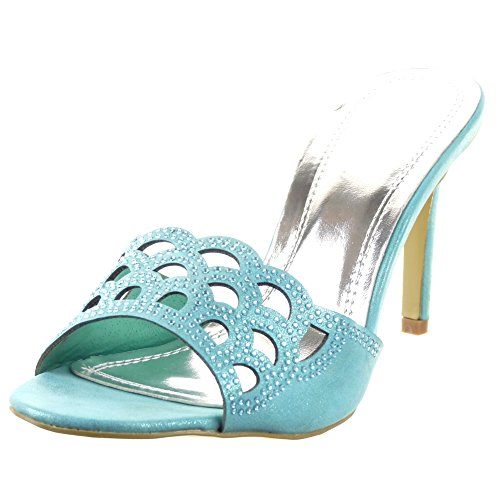 Sopily - Scarpe da Moda scarpe decollete sandali Stiletto alla caviglia donna strass Perforato Tacco Stiletto tacco alto 8.5 CM - Blu