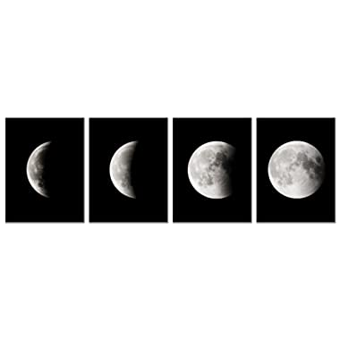 Wieco Art - Modern Giclee Canvas Prints Stretched Artwork Abstract Space Black and White Pictures to Photo Paintings on Canvas Wall Art for Home Office Decorations Wall Decor 4pcs/Set P4RAB018