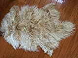Beautifur Mongolian Tibetan Lambskin Sheepskin Fur Wool Hide Pelt Rug Beige with Snow Top two tones