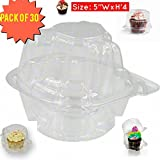 single cupcake holder , Individual Cupcake Boxes, Strong and Sturdy, BPA Free, crystal Clear Plastic ,with Superior Hinged Lid, Clear cupcake containers (30, single cupcake containers)