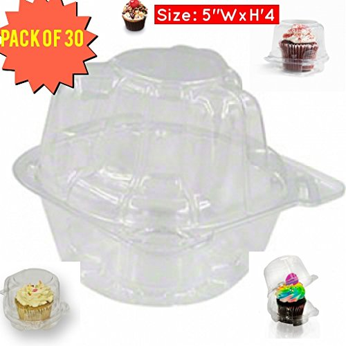 single cupcake holder, Individual Cupcake Boxes, Strong and Sturdy, BPA Free, crystal Clear Plastic,with Superior Hinged Lid, Clear cupcake containers (30, single cupcake containers)]()