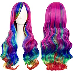"""LACGO Christmas Colorful Wig Curly Cosplay Long Costume Wavy Wig 32"""" 80cm(Multicolor)(1 PCS)"""