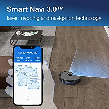 Ecovacs DEEBOT OZMO 950 Robotic Vacuum Cleaner 2-in-1 Vacuuming & Mopping with Smart Navi 3.0 Laser Technology Custom Cleaning Multi-Floor Mapping Virtual Wall Works on Carpets & Hard Floors 8