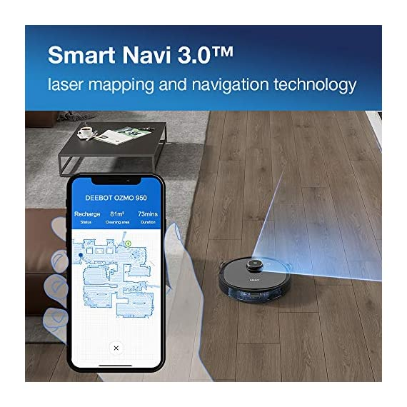 Ecovacs DEEBOT OZMO 950 Robotic Vacuum Cleaner 2-in-1 Vacuuming & Mopping with Smart Navi 3.0 Laser Technology Custom Cleaning Multi-Floor Mapping Virtual Wall Works on Carpets & Hard Floors 2