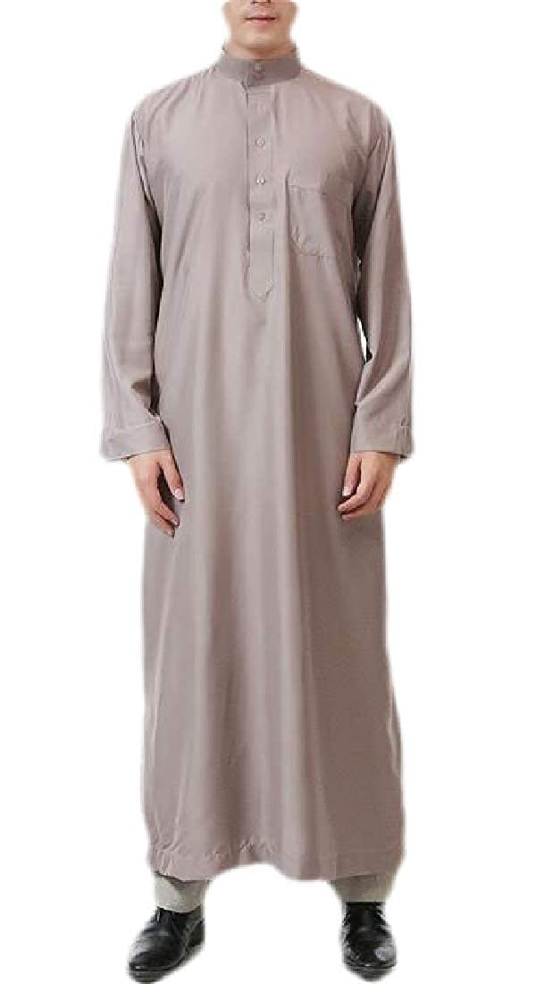 Fensajomon Mens Stand Collar Long Sleeve Button Saudi Arab Thobe Islamic Muslim Dubai Robe