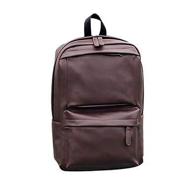 Vintage Herren Damen Rucksack Leder Backpack Schulrucksack Schultertasche Schule