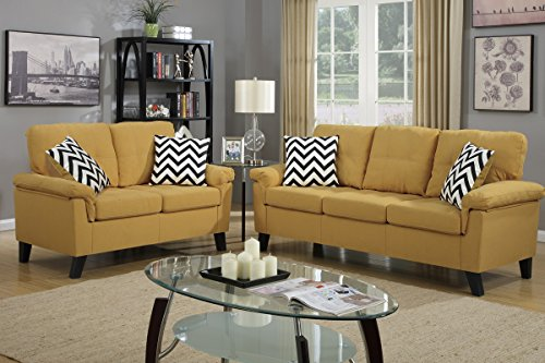 Poundex F6906 Bobkona Tyler Linen-Like 2 Piece Sofa and Loveseat Set, Citrus