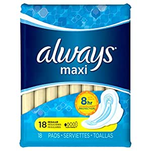Always Maxi Unscented Pads with Wings, Regular, 18 Count (Pack of 4)