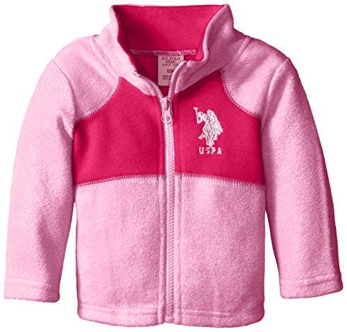 U.S. Polo Assn. Baby Girls Polar Fleece Jacket, Medium Pink/Fuchsia, 12 Months
