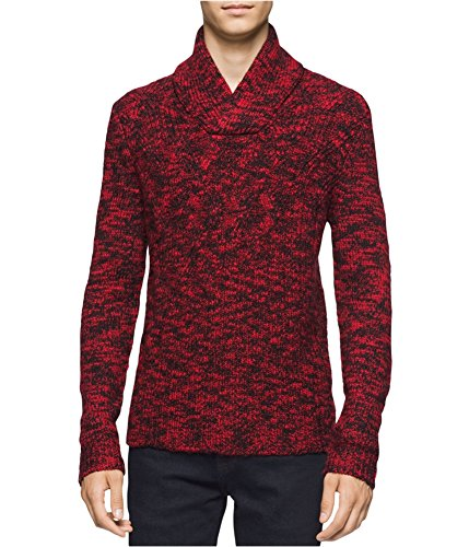 (Calvin Klein Mens Wool Blend Cable Knit Pullover Sweater Red L)