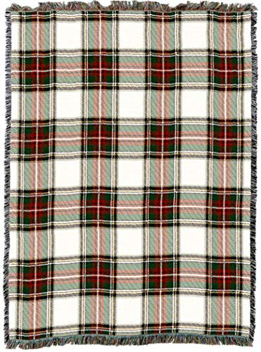 Pure Country Weavers | Stewart Dress Plaid Tartan Woven Tapestry Throw Blanket with Fringe Cotton USA - Stewart Tartan Dress