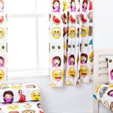 Emoji Emoticons Design Children's Bedroom Curtains 66'x 72' with Tie Backs