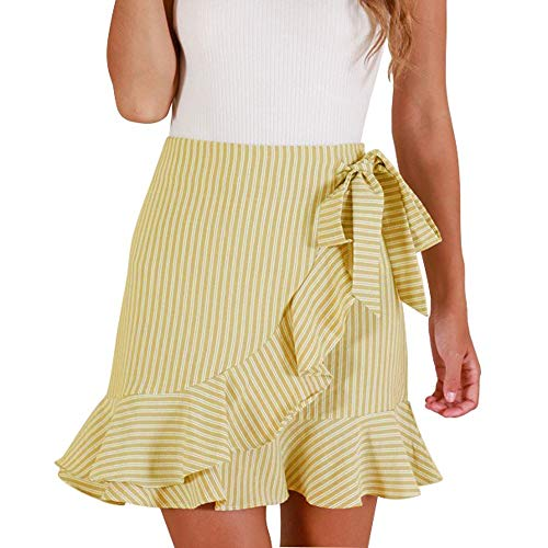QueenMMWomen's Striped Asymmetrical Ruffles High Waist Printed Cute Casual Mini Skirt Yellow