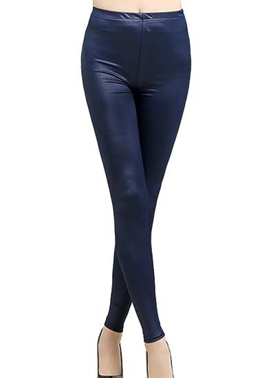 76c98252227c3 Swtddy Women's Girls Sexy Faux Leather Tights Slim Thin Elastic Waist  Leggings Pants