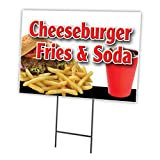 "CHEESEBURGER FRIES SODA 18""x24"" Yard Sign & Stake outdoor plastic coroplast window"