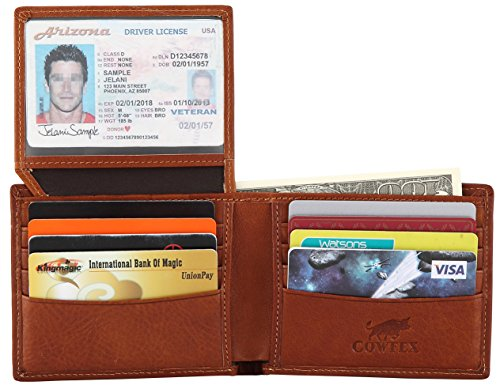 Wallet for men Genuine cowhide Leather RFID Blocking Bifold with 2 ID Window Brown (Holder Id Two Fold)