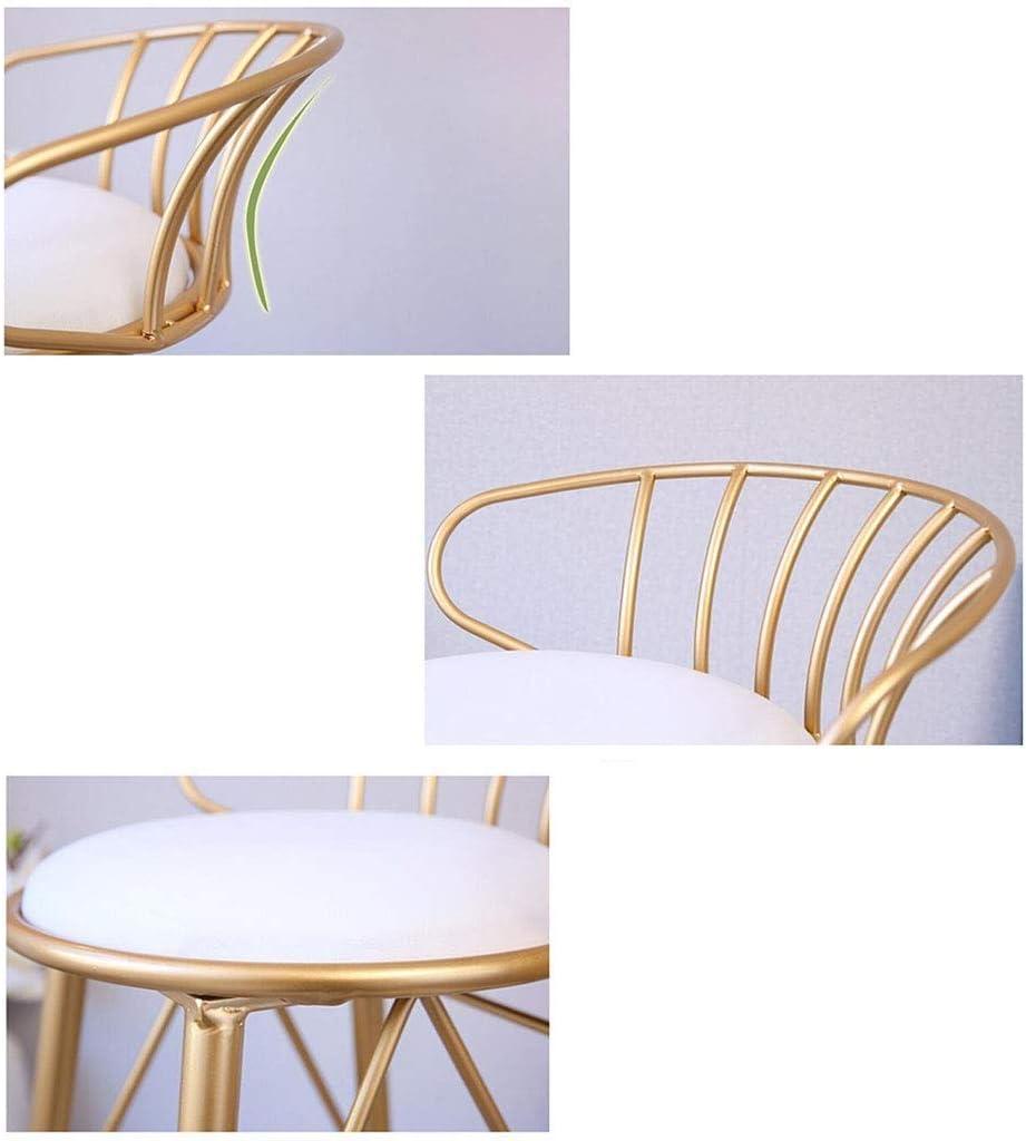YZjk Tabourets Hauts en métal doré, tabourets de Bar avec Dossier pour la Cuisine, Coussins en Velours, chaises de Salle à Manger Modernes (Couleur: Noir, Taille: 65 cm) 5