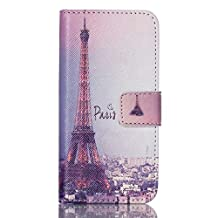 iPod Touch 6th Gen,PU Leather Fold Wallet Pouch Case case Premium Leather Wallet Flip Case for Apple iPod Touch (6th Generation) Case, iPod Touch 5th Gen Case(Paris Tower)