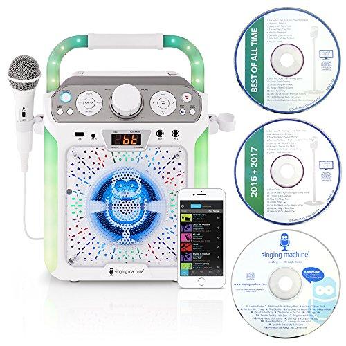 Singing Machine SML682BTW Bluetooth and CD Kids Karaoke Machine with LED Lights...