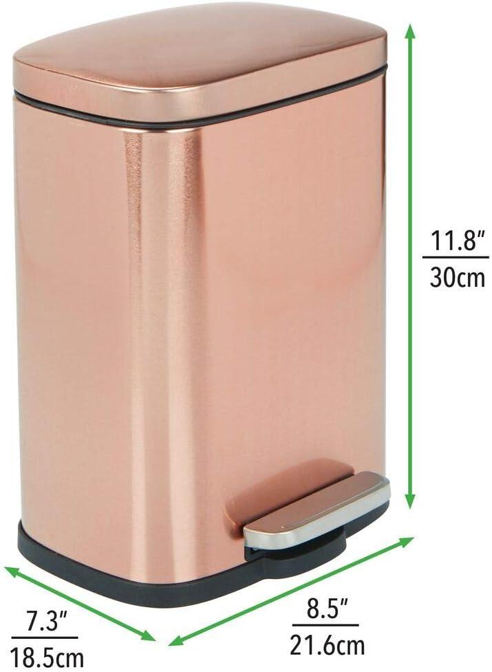 Cucina Pattumiera differenziata per Bagno mDesign Cestino rifiuti con capacit/à di 5,7 L Rosa Chiaro Bidone Spazzatura in plastica con Manici integrati cameretta o Ufficio