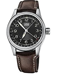 Oris Big Crown Pointer Date Black Dial Brown Leather Mens Watch 754-7679-4034LS