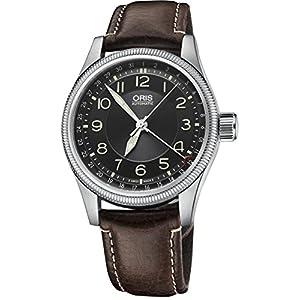 Oris 754-7679-4034LS - Reloj de Pulsera para Hombre (Piel, Esfera Negra, Puntero y Fecha, Esfera Color marrón) 1