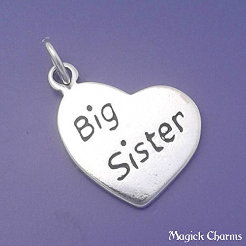 (Big Sister Heart Charm 925 Sterling Silver Pendant Jewelry Making Supply, Pendant, Charms, Bracelet, DIY Crafting by Wholesale)