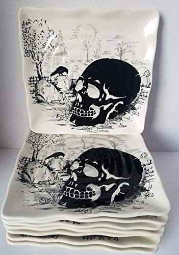 Maxcera Halloween Skull Spooky Square Salad Plate Set Of 8 for $<!--$139.99-->