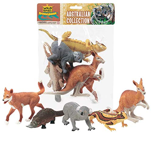 Toy Kangaroo - Wild Republic Kangaroo, Koala Bear, Dingo, Platypus, Lizard, Australian polybag, 5 pc Set