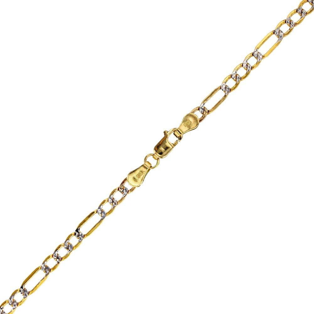 14K Two-Tone Gold 3.20mm 8'' Figaro 080 Lite Chain Bracelet