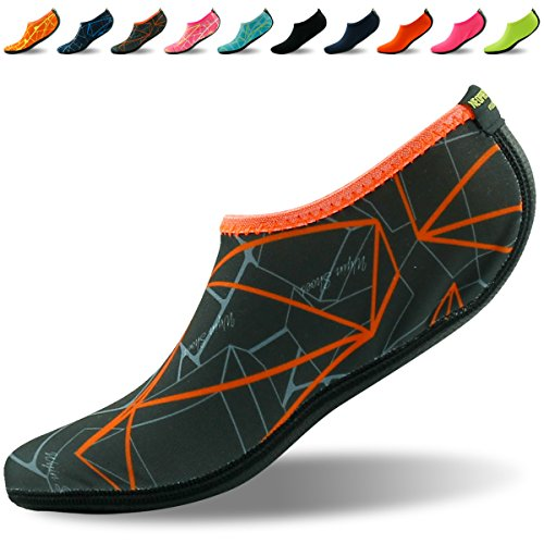 Forfoot Aqua Socks Unisex Men's Women's Barefoot Flexible Water Skin Shoes for Beach,Diving,Snorkeling,Running Trainers,Surf Yoga Exercise XXX-Large Dark Grey Orange (Boots Snorkel Fins)