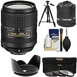 Nikon 18-300mm f/3.5-6.3G VR DX ED AF-S Nikkor-Zoom Lens with 3 Filters + Hood + Tripod Kit for D3200, D3300, D5300, D5500, D7100, D7200 Cameras