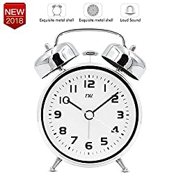 3.5 Twin Bell Alarm Clock with Aluminum Dial, Backlight, Battery Operated Loud Alarm Silent Quiet Classic Quartz Analog Vintage Mechanical Bedside Clock,Great for Heavy Sleepers and Travel(Silver)