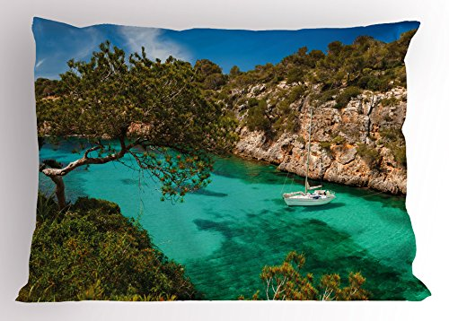 Ambesonne Nature Pillow Sham, Small Yacht Floating in Sea Majorca Spain Rocky Hills Forest Trees Scenic View, Decorative Standard Size Printed Pillowcase, 26 X 20 Inches, Green Aqua Blue by Ambesonne