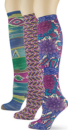 Knee High Socks with Colorful Printed Patterns - Made in USA by Sox Trot (3 (Plus Size 70s Clothing)