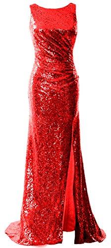MACloth Women Cowl Back Sequin Long Bridesmaid Dress Sheath Formal Evening Gown Rot 0HrGM1