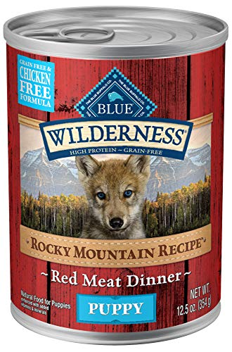 Blue Buffalo Wilderness Rocky Mountain Recipe High Protein Grain Free, Natural Puppy Wet Dog Food, Red Meat 12.5-oz can (pack of 12) (Food Blue Puppy Wet Buffalo)