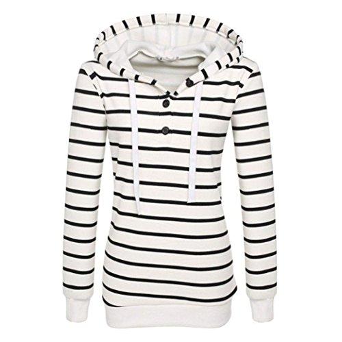 Lisingtool Women's Stripe Loose Hoodie Sweatshirt Jumper Pullover Tops (XL, White)