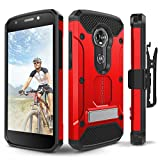 Moto E5 Plus / E5 Supra Case, Evocel [Explorer Series Pro] Premium Full Body Case with Glass Screen Protector, Belt Clip, Metal Kickstand for Motorola Moto E5 Supra/Moto E5 Plus, Red