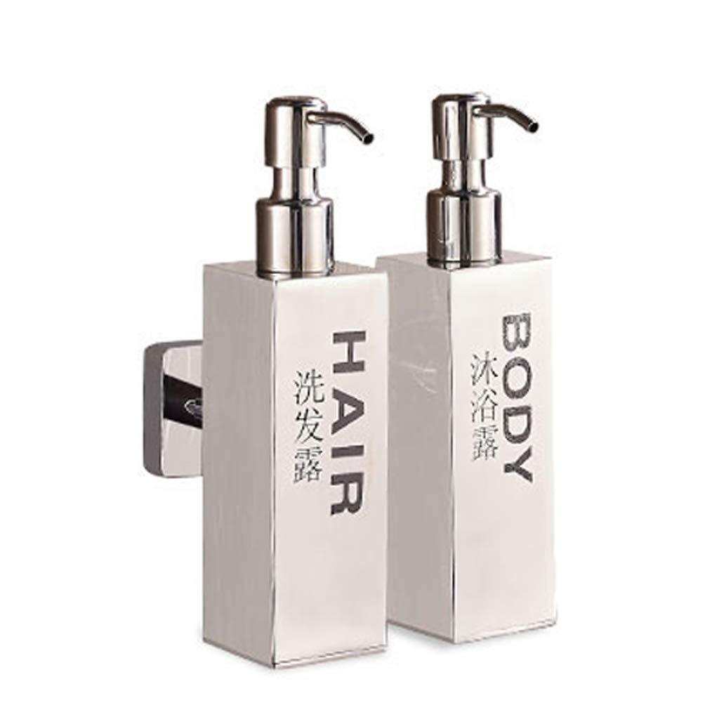 RLJJCS Soap Dispenser, Wall-Mounted Brushed Stainless Steel Three-Head Manual Hotel Bathroom Shower Gel Shampoo Conditioner Box Hand Sanitizer Box (Color : B)