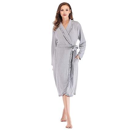 XZ Mujer Batas Albornoz Kimono Algodón Camisón Invierno Ropa de Dormir con Cinturón Suave Cómodo Bata