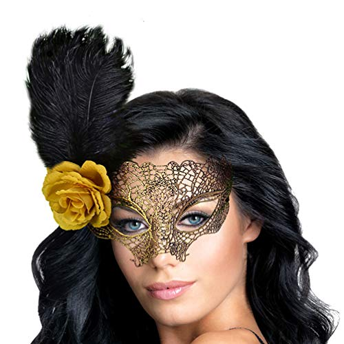 Fancy Womens Masquerade Lace Mask with Feathers -