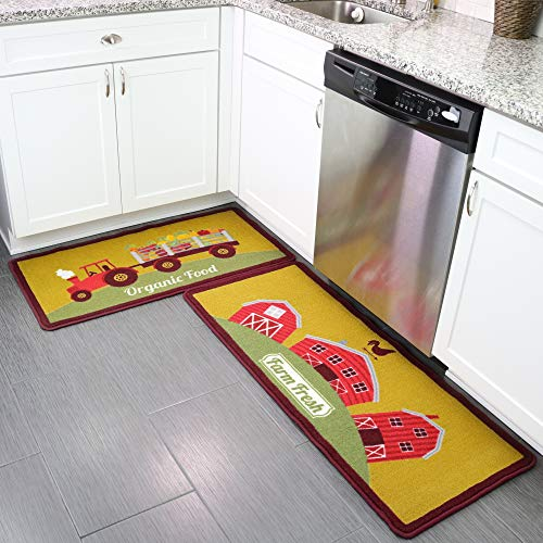 Kitchen Rug Set of 2 with Fashionable Farm House Design. Thicker Loop-Pile 100% Nylon Feels Comfortable on Bare Feet. Non-Slip, Spill Resistant, Durable and Long Lasting