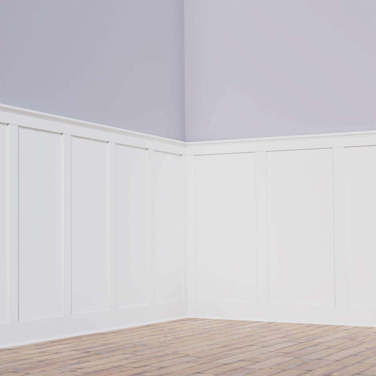 Ekena Millwork WPKP56X03DS Adjustable Wall Panels, Deluxe Shaker 8' PVC Wainscoting Kit, Heights up to 56'' (20''), Factory Primed White by Ekena Millwork